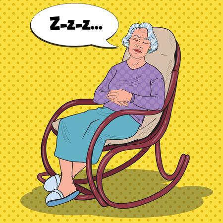Pop Art Senior Woman Sleeping in Chair. Grandmother Resting in Armchair. Vector illustration