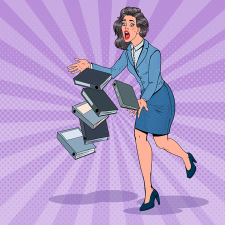 Pop Art Careless Business Woman Dropping Folder Documents. Office Secretary with Paper Files. Vector illustration