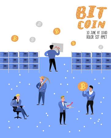 Bitcoin Concept with Flat Cartoon Characters Poster, Banner. Crypto Currency Virtual Money. Bitcoin Mining, Electronic Finance. Vector illustration