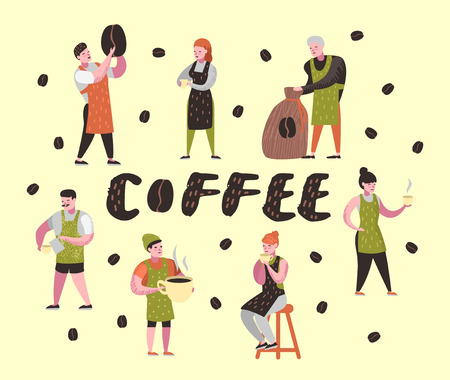 Barista Man and Woman Flat Characters in Coffee Shop. Cartoon Cafe Staff with Cup, Mug and Coffee Beans. Vector illustration