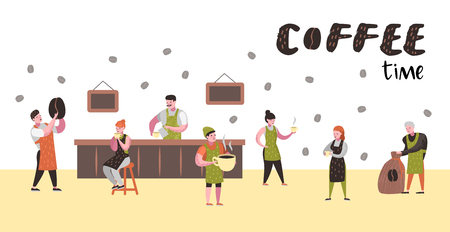 Barista Man and Woman Flat Characters in Coffee Shop. Cartoon Cafe Staff with Cup, Mug and Coffee Beans for Poster, Banner. Vector illustration Stock Illustratie
