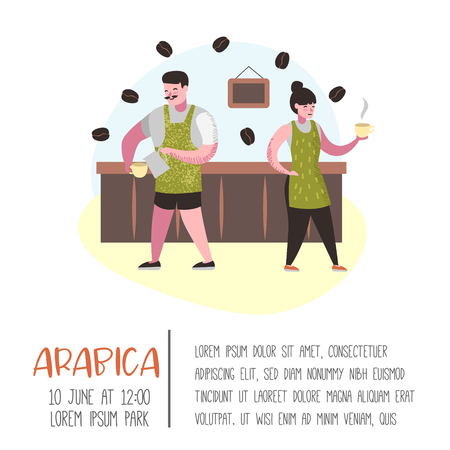 Barista Man and Woman Flat Characters in Coffee Shop. Cartoon Cafe Staff with Cup, Mug and Coffee Beans for Poster, Banner. Vector illustration Illustration
