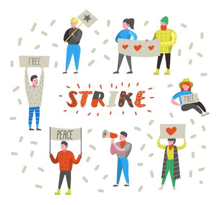 Gruppo di persone arrabbiate piatte che protestano contro lo sciopero. Personaggi che picchettano contro qualcosa con striscioni e cartelli. Dimostrazione, protesta, picchetto. Illustrazione vettoriale Vettoriali