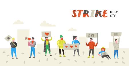 Grupo de gente plana enojada protestando en huelga. Personajes de piquetes contra algo con pancartas y carteles. Manifestación, protesta, piquete. Ilustración vectorial Ilustración de vector