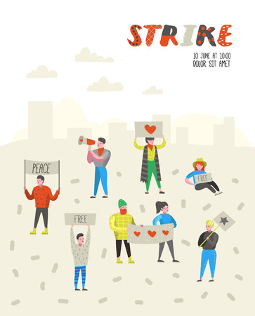 Group of Flat Angry People Protesting at Strike. Characters Picketing Against Something with Banners and Placards. Demonstration, Protest, Picket. Vector illustration Imagens - 111905768