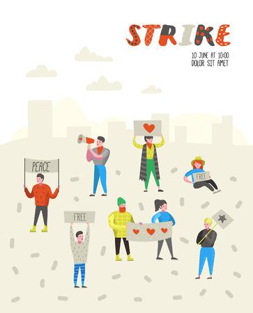 Grupo de gente plana enojada protestando en huelga. Personajes de piquetes contra algo con pancartas y carteles. Manifestación, protesta, piquete. Ilustración vectorial
