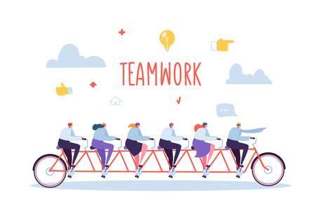 Lavoro di squadra di affari e concetto di cooperazione. Personaggi di persone piatte in sella a una bicicletta tandem per sei persone. Performance collettiva uomo e donna. Illustrazione vettoriale Vettoriali
