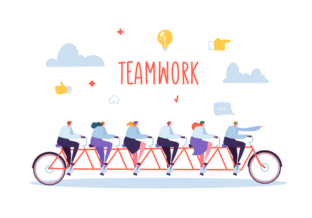 Business Team Work and Cooperation Concept. Flat People Characters Riding Six Person Tandem Bicycle. Man and Woman Collective Perfomance. Vector illustration