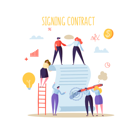 Business Characters Signing Agreement. Flat People with Signed Contract with Stamp and Signature. Cooperation, Partnership Concept. Vector illustration