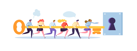 Business Solution Concept. Businessmen Holding Big Key Together and Trying to Open Keyhole. Flat People Teamwork Strategy. Vector illustration Ilustração Vetorial