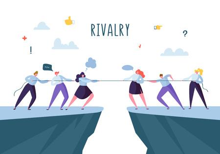 Competencia empresarial, concepto de rivalidad. Personajes de gente de negocios plana tirando de la cuerda. Conflicto corporativo. Ilustración vectorial