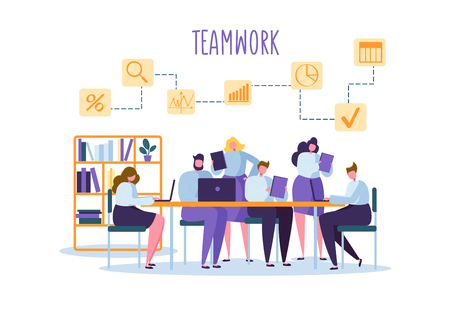Corporate Business Team People Behind Desk. Flat Characters Office Workers. Teamwork Concept. Coworking Space with Man and Woman with Laptop. Vector illustration Ilustração