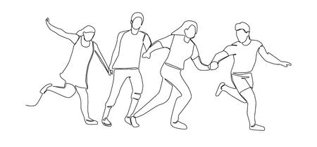 Dibujo de línea continua corriendo gente feliz. Personajes de una línea silueta hombre y mujer. Ilustración vectorial