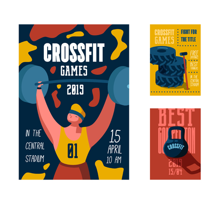 Fitness Workout Gym Poster, Placard, Invitation. Crossfit Banner, Flyer with Strong Man Character. Motivational Sport Event Design Template. Vector illustration