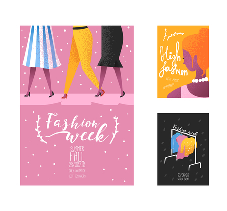 Fashion Week Poster, Banner Template, Placard, Brochure. Fashionable Models, New Clothes Collection, Online Shopping. Vector illustration Illustration