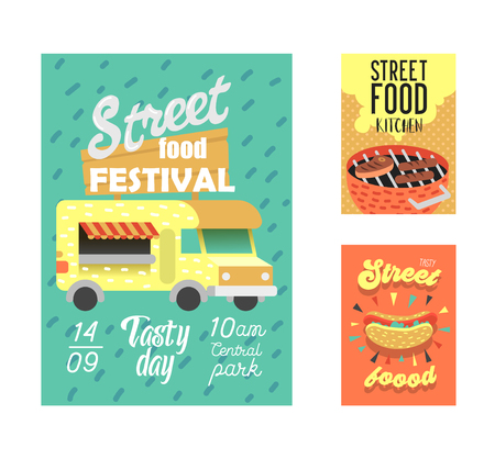 Street Food Festival Poster. Fastfood Outdoor Event Invitation, Placard, Brochure, Banner Template with Van and BBQ. Vector illustration Illustration