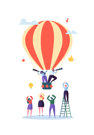 Flache Geschäftsleute, die auf Luftballon fliegen. Mann und Frau mit Fernglas. Geschäftsvision, Innovation, Teamarbeitskonzept. Vektor-Illustration