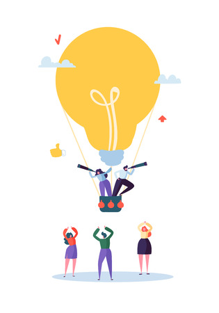 Flat Business People Flying on Big Light Bulb. Man and Woman with Spyglass. Business Idea, Vision, Innovation, Team Work Concept. Vector illustration 向量圖像