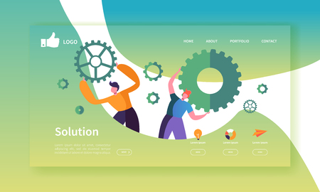 Website Development Landing Page Template. Mobile Application Layout with Flat Business People Holding Gears. Team Work Concept. Easy to Edit and Customize. Vector illustration