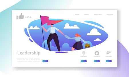 Website-Entwicklung Landing Page Template. Mobiles Anwendungslayout mit flachem Geschäftsmannführer an der Spitze mit Flagge. Einfach zu bearbeiten und anzupassen. Vektorillustration