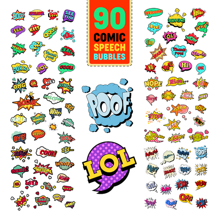 Pop Art Comic Speech Bubbles Collection with Funny Text. Chat, Communication Stickers, Badges and Patches. Vector illustration Ilustracje wektorowe