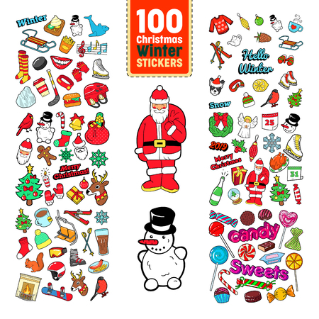Chistmas Stickers Collection. Winter Holidays Badges, Patches, Elements with Xmas Tree, Santa Claus, Reindeer and Snowman. Vector illustration