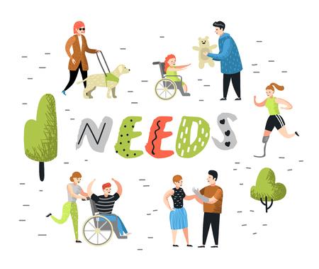 Flache Menschen-Charaktere mit besonderen Bedürfnissen. Behinderte Cartoons, Mann und Kind im Rollstuhl. Behinderter, Frau mit Prothese. Vektor-Illustration Vektorgrafik