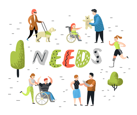 Flat People Characters Set with Special Needs. Disabled Cartoons, Man and Kid in Wheelchair. Disability Person, Woman with Prothesis. Vector illustration