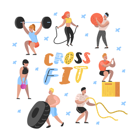 Sport Gym Flat People Characters with Barbells and Fitness Equipment. Workout, Crossfit, Bodybuilding, Muscular Exercises. Vector illustration