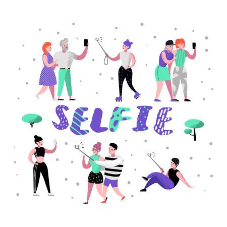 Jongeren die Selfie maken met Smartphone. Platte karakters in verschillende poses nemen foto met mobiele telefoon. Tiener met mobiel apparaat. vector illustratie