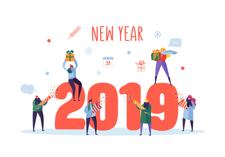 Happy New Year 2019 Greeting Card. Flat People Characters Celebrating Party with Gift Boxes and Confetti. Vector illustration Çizim