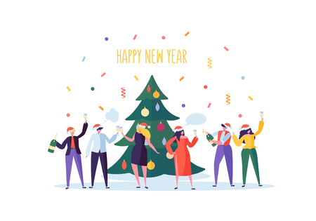 Business People Celebrating New Year Party. Flat Characters in Santa Hat Toasting Champagne. Christmas Eve with Cartoons, Tree and Confetti. Vector illustration