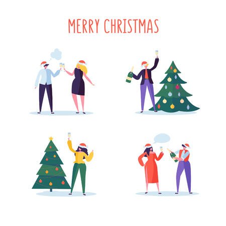 Business People Celebrating New Year 2019 Party. Flat Characters in Santa Hat Toasting Champagne. Christmas Eve with Cartoons, Tree and Confetti. Vector illustration