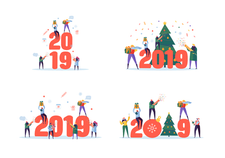 Happy New Year 2019 Greeting Card. Flat People Characters Celebrating Party with Gift Boxes and Confetti. Vector illustration Ilustração