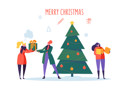 Flat Happy People with Gifts and Christmas Tree. Merry Xmas Holiday Party. Characters Celebrating New Year Eve. Vector illustration Illustration