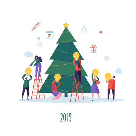 Flat Happy People Decorating Christmas Tree. Merry Xmas Holiday Party. Characters Celebrating New Year Eve. Vector illustration Illustration