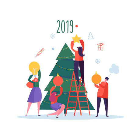 Flat Happy People Decorating Christmas Tree. Merry Xmas Holiday Party. Characters Celebrating New Year Eve. Vector illustration