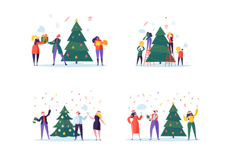 Flat Happy People Decorating Christmas Tree. Merry Xmas Holiday Party. Characters Celebrating New Year Eve. Vector illustration Vector Illustration