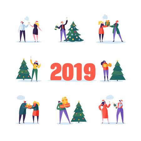Flat Happy People with Gifts and Christmas Tree. Merry Xmas Holiday Party. Characters Celebrating New Year Eve with Champagne. Vector illustration Illustration