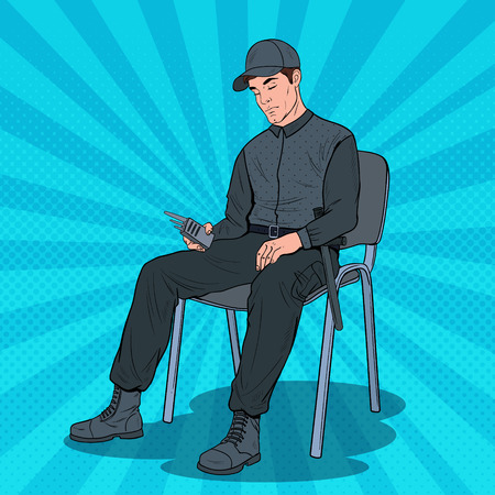 Pop Art Guard Man Sleeping at Work. Security Worker Resting on Armchair at Workplace. Vector illustration