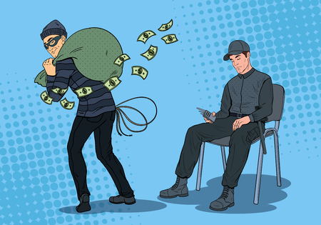 Uomo della guardia di Pop Art che dorme al lavoro mentre il ladro ruba i soldi. Operaio di sicurezza in appoggio sulla poltrona sul posto di lavoro. Illustrazione vettoriale