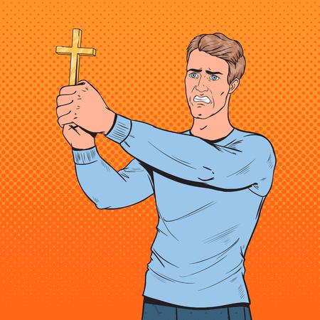 Pop Art Afraid Man Defending from Violence with Cross. Shocked Guy. Vector illustration