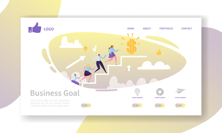 Business Career Landing Page Template. Website Layout with Flat People Characters Going to Success. Easy to Edit and Customize Mobile Web Site. Vector illustration Illustration