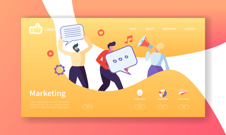 Social Marketing Landing Page Template. Website Layout with Flat People Characters Advertising. Easy to Edit and Customize Mobile Web Site. Vector illustration