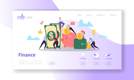 Business and Finance Landing Page Template.  Website Layout with Flat People Characters Making Money. Easy to Edit and Customize Mobile Web Site. Vector illustration
