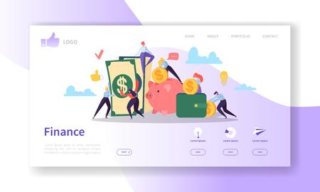 Landing Page-Vorlage für Unternehmen und Finanzen. Website-Layout mit Flat People-Charakteren, die Geld verdienen. Einfache Bearbeitung und Anpassung der mobilen Website. Vektorillustration