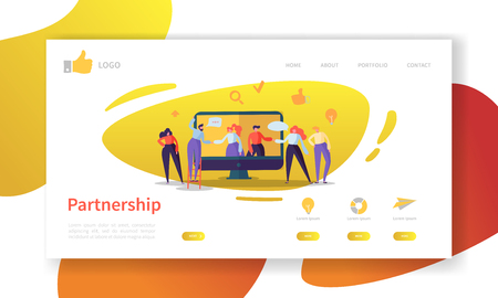 Business Partnership Landing Page Template. Website Layout with Flat People Characters Cooperation. Easy to Edit and Customize Mobile Web Site. Vector illustration
