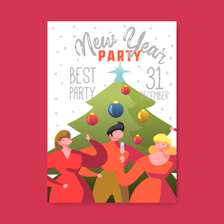 Happy New Year 2019 Poster. Flat People Characters Celebrating Party Greeting Card, Placard, Invitation Template. Vector illustration Illustration