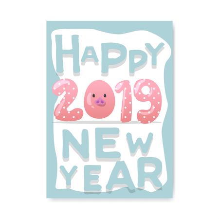 Happy New Year Poster. Cute Pig Symbol of 2019 Year. Greeting Card Banner, Invitation, Placard Template. Vector illustration Stock Vector - 108437695