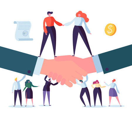 Handshake Business Agreement. Flat People Characters Signing Contract. Successful Partnership, Cooperation Concept. Vector illustration